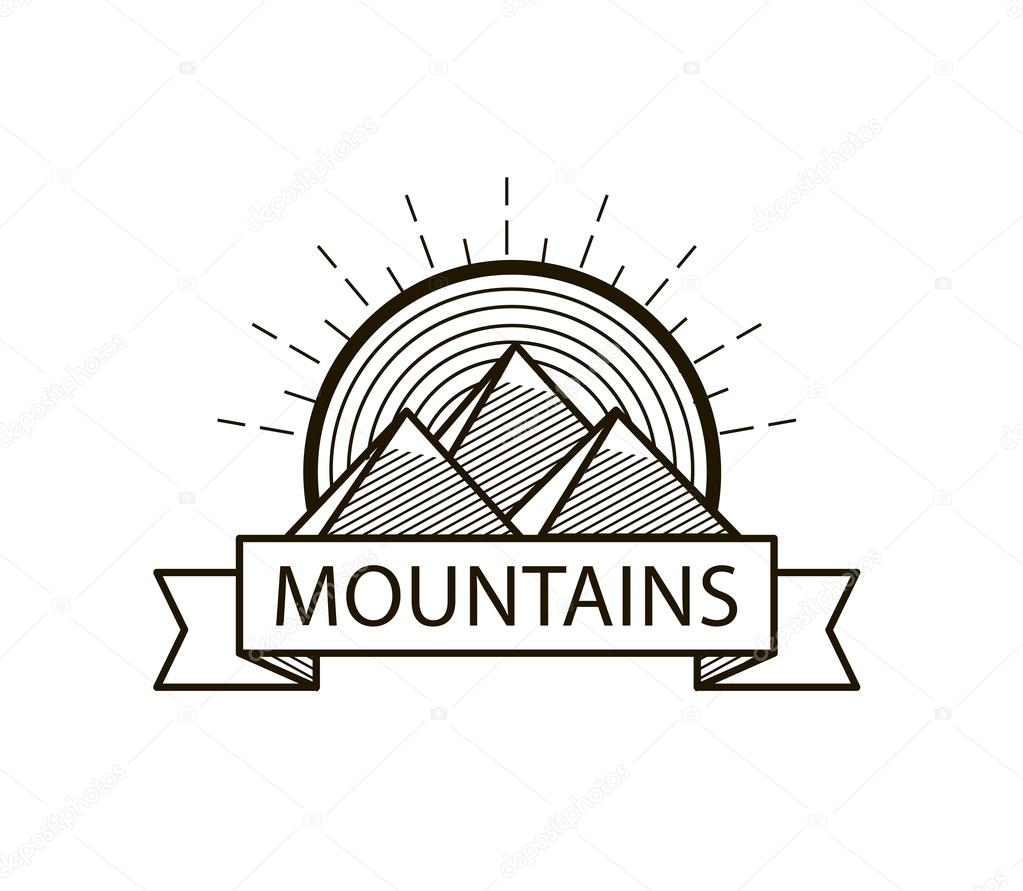 mountains line hipster logo