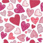 Doodle pozadí červené srdce
