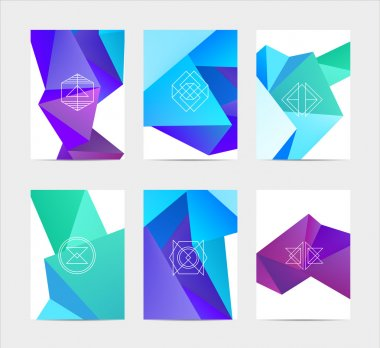 set of labels in geometric style