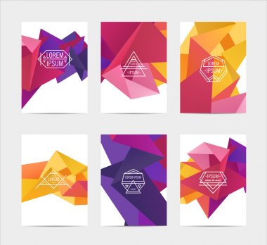 Abstract colorful templates, set of labels in geometric triangular pattern style with trendy white thin line logos clip art vector