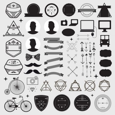 set of vintage design hipster icons