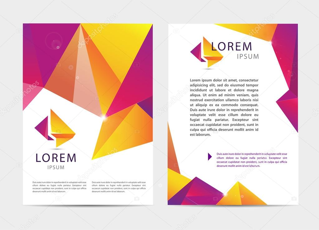 Brochure and letterhead template design stock vector marylia vector document letter or logo style cover brochure and letterhead template design mockup set for business presentations multicolored geometrical shapes spiritdancerdesigns Gallery