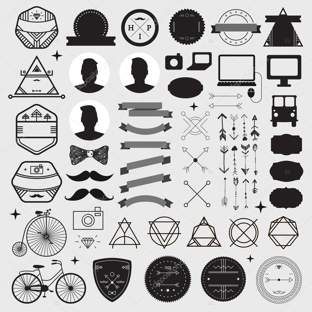 set of vintage design hipster icons