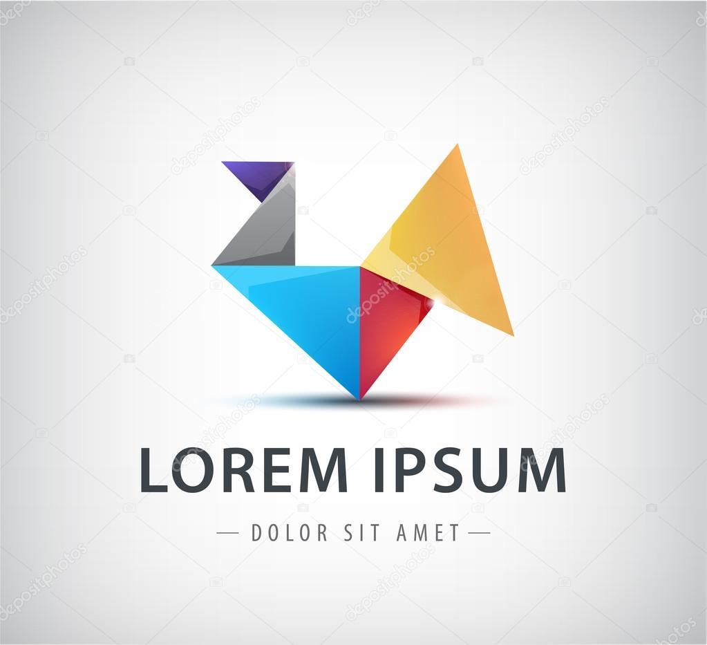 Colorful origami logo, icon