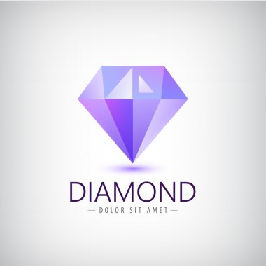 purple diamond icon, logo