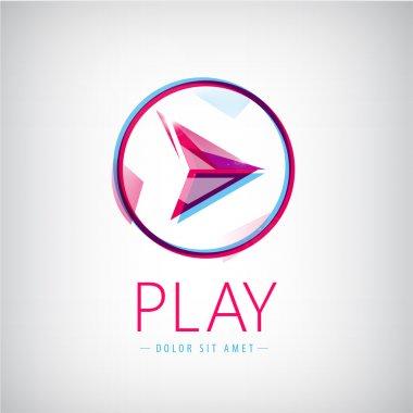 Vector abstract arrow logo, icon isolated. Play web icon in circle stock vector
