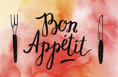 Bon Appetit poster with fork and knife