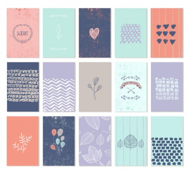 Vector set of art cards for wedding invitations, birthday cards, party invitations, Valentine's day. Isolated. Hearts, wreaths, diamonds, hand drawn patterns clip art vector