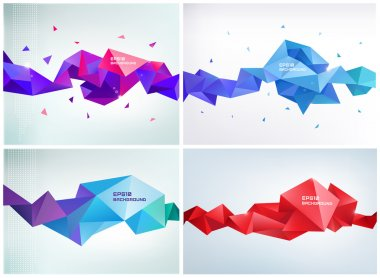 crystal colorful shapes, banners.