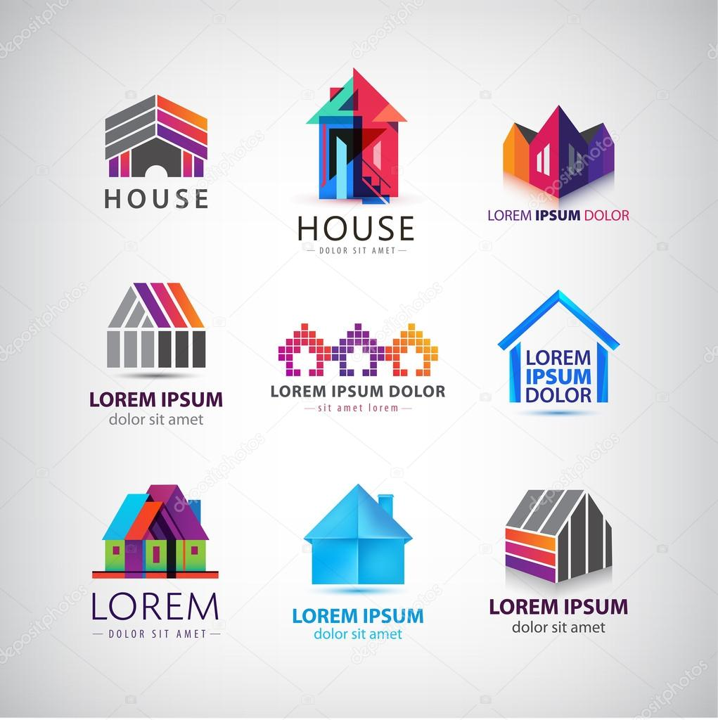 colorful houses logos