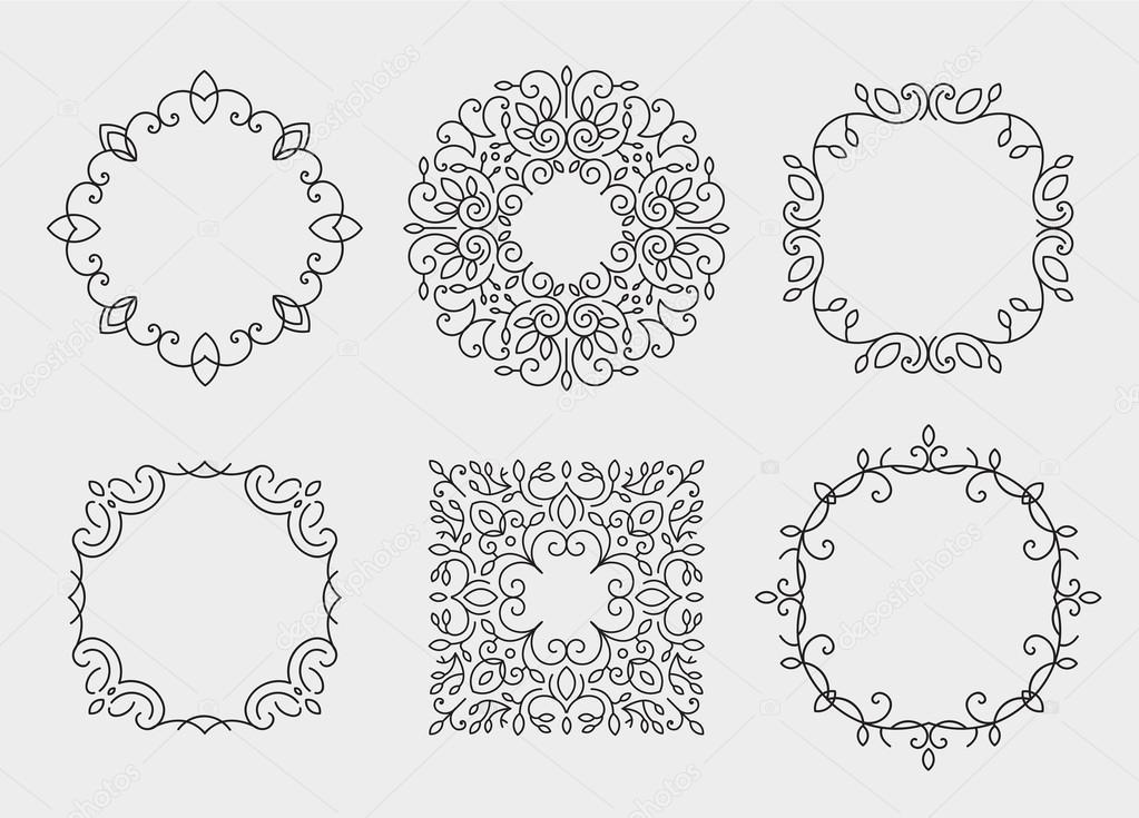 conjunto de cuadros del monograma, círculos — Archivo Imágenes ...