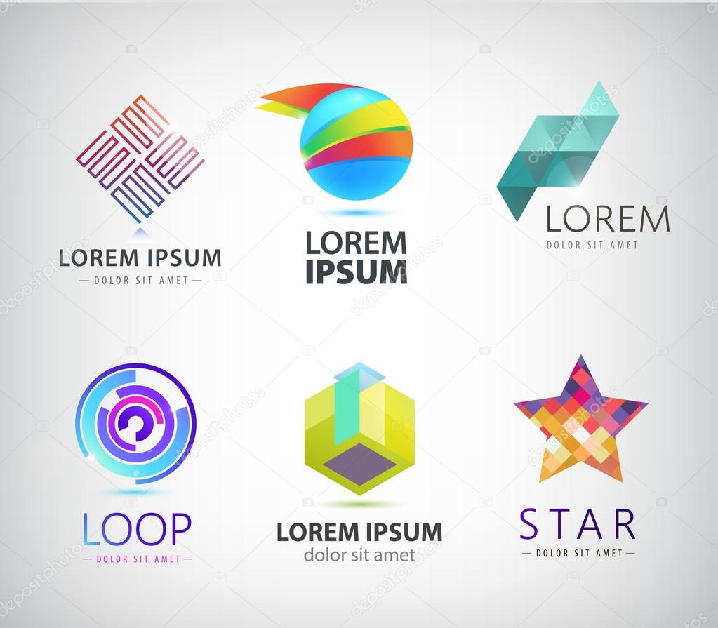 colorful logos, icons