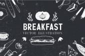 Fotografie Breakfast hand drawn menu