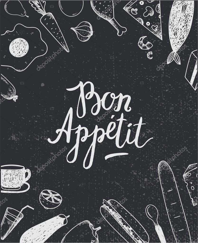 Черно белые картинки векторы приятного аппетита