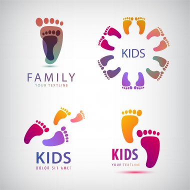 Feet steps, footprints logos