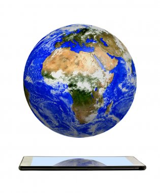Planet earth on tablet computer