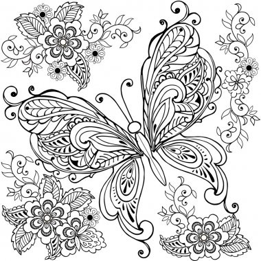 Hand drawn Decorative butterfly with florals for the anti stress coloring page.