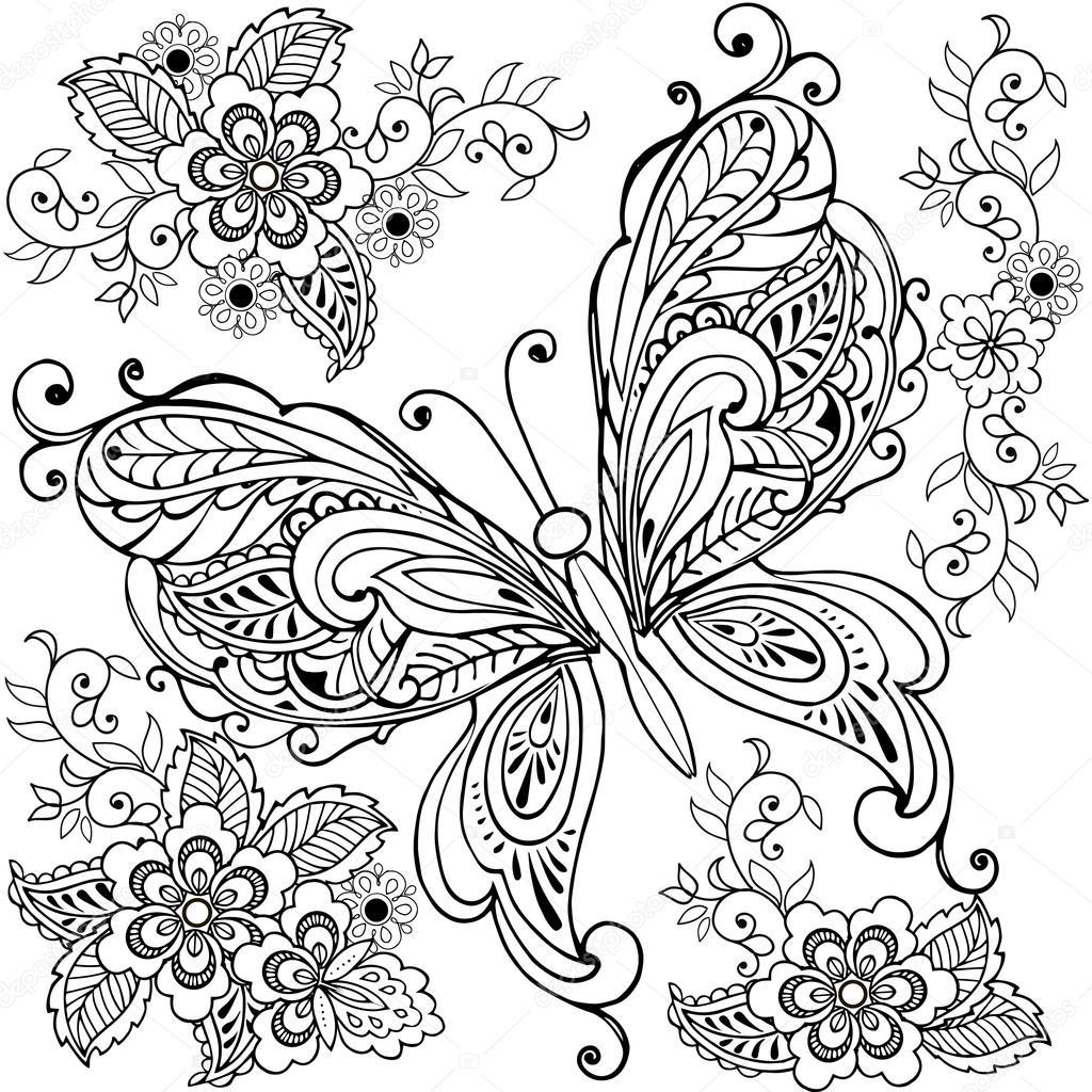 Mano dibujada decorativo mariposa con flores para el anti estrés ...