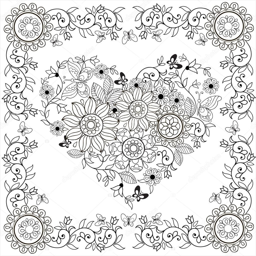 Coloriage Cadre Fleur.Coloriage Coeur Decoratif Livre Des Fleurs Et Des Papillons Dans