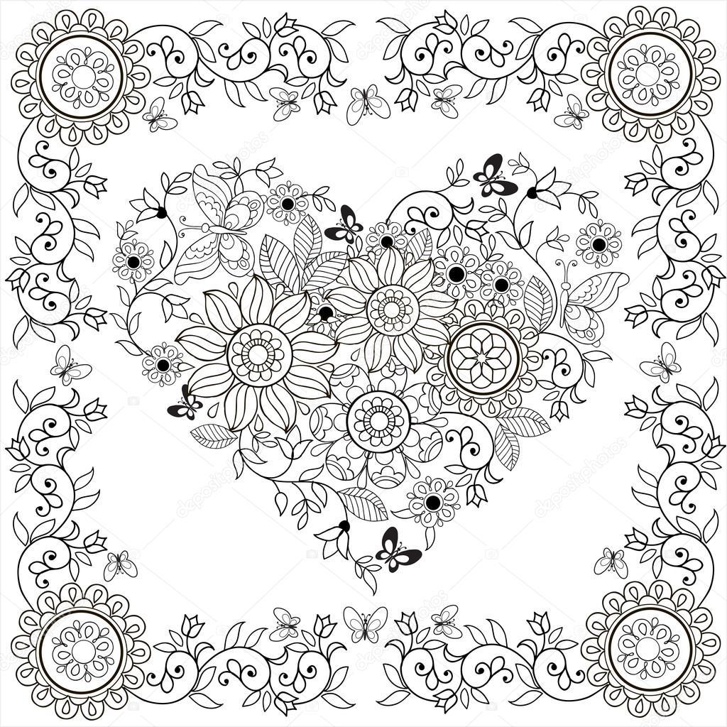 boek decoratieve hart bloemen en vlinders kleurplaat