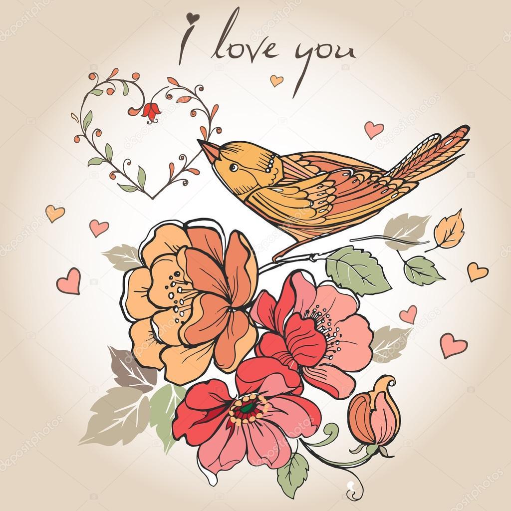 Postal Vintage flores, pájaros, corazones, te amo. Puede ser ...