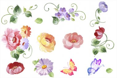 Set  watercolor floral elements - leaves and flowers, butterflies  in vector. Isolated on the white background, easy editable and great for floral compositions.Design for invitation, wedding or greeting cards.