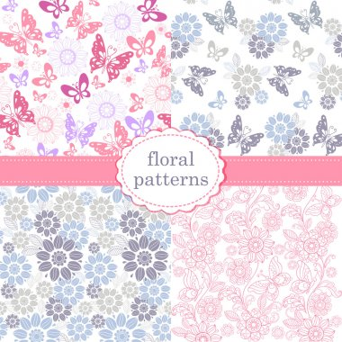Set of patterns of flowers and butterflies in pastel pink and blue tones. Set of seamless vector patterns.