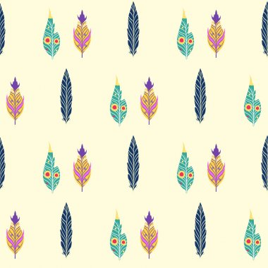 pattern with colored feathers.