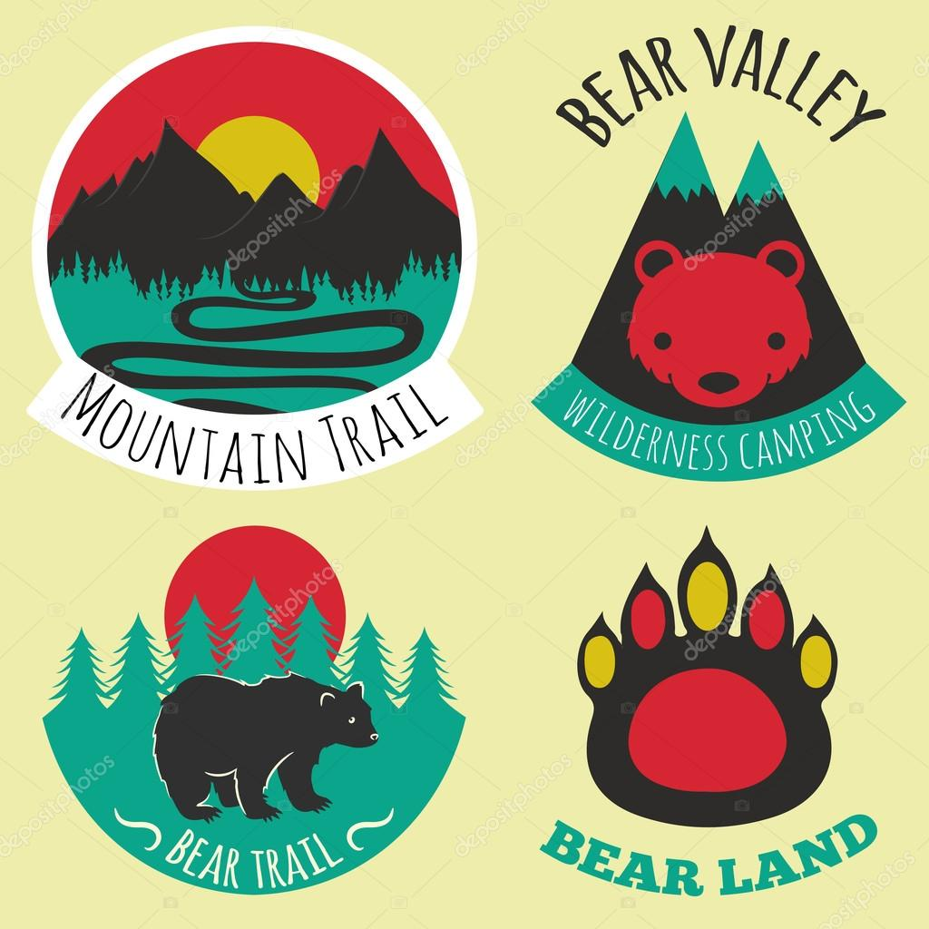 Colored set of camping emblems,