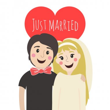 Vector illustration. Cute young couple newlyweds with heart on the background. Just married smiley man and woman clip art vector