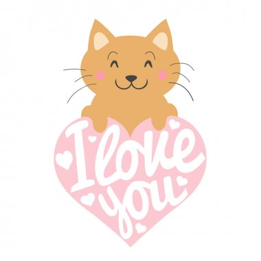 Smiley cartoon cat with pink heart