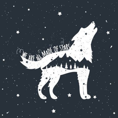 howling wolf, mountains and trees