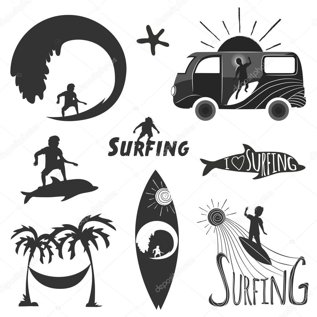 set of vintage surfing labels