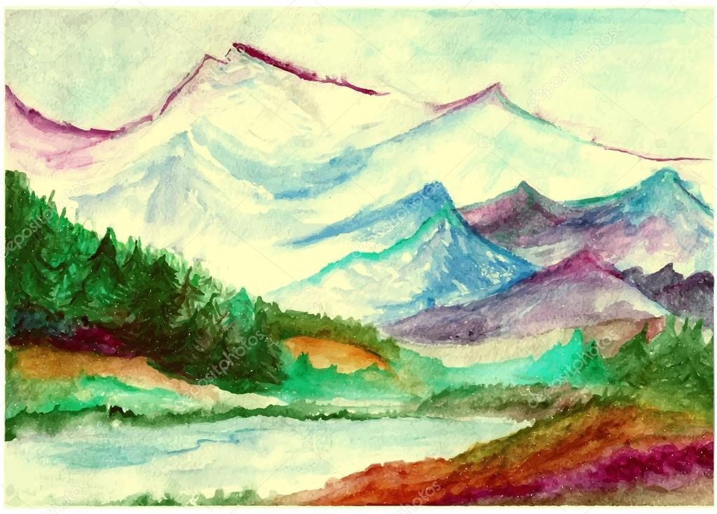 Landscape with watercolor mountains