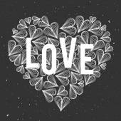Romantic vector heart with word Love