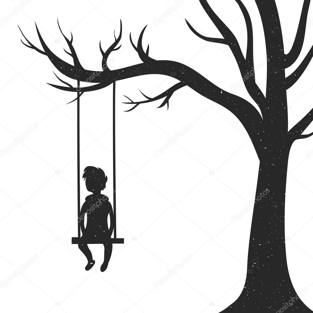 Young man sitting on a swing stock vector