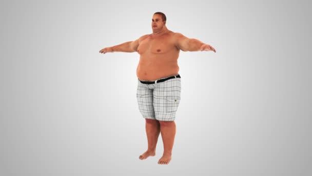 Tlustý muž hubnutí. Tlustý tenký transformace