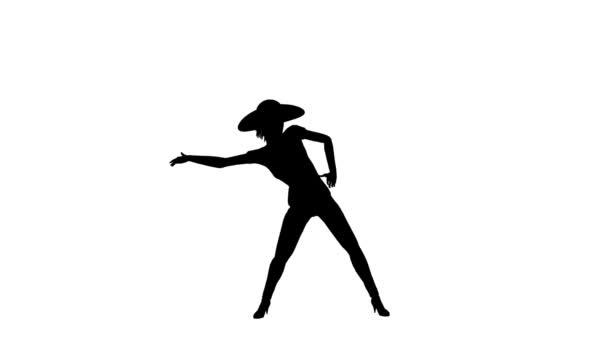 Silhouette di una giovane donna sottile sexy indossa tappo discoteca dancing