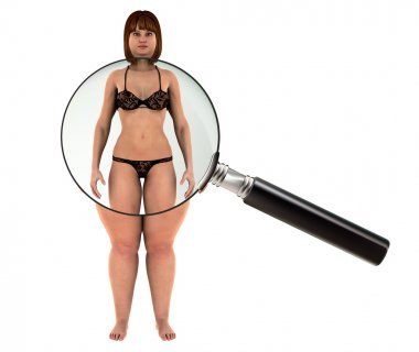 Fat woman Weight Loss motivation with magnifying glass