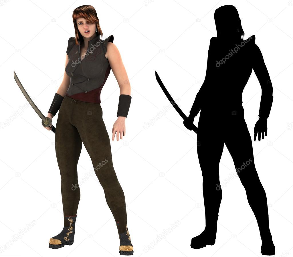 Warrior Woman Holding Samurai Sword Katana With