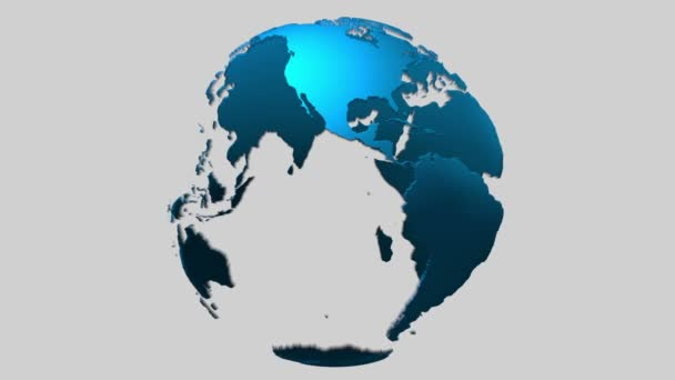 Loopable rotating transparent blue 3d surface earth planet globe with alpha mask included