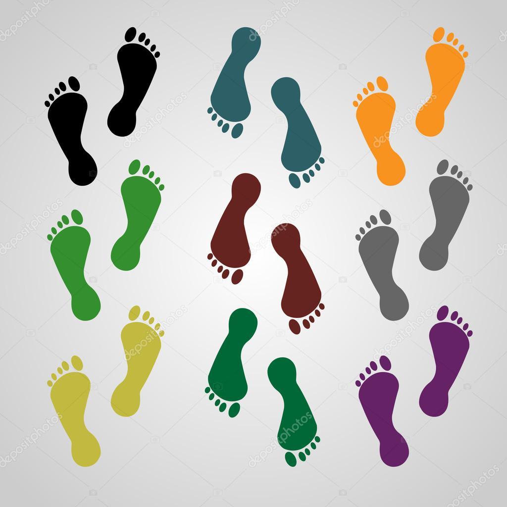 Feet, foot print, logo, icon, red color, blue color, black color