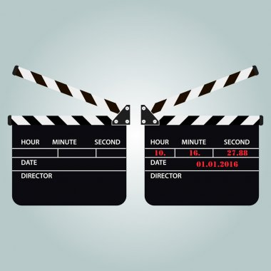 Black open clapperboard. vector illustration. the text is easily removed, isolated.