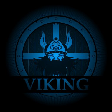 Viking emblem appearing out of the darkness.