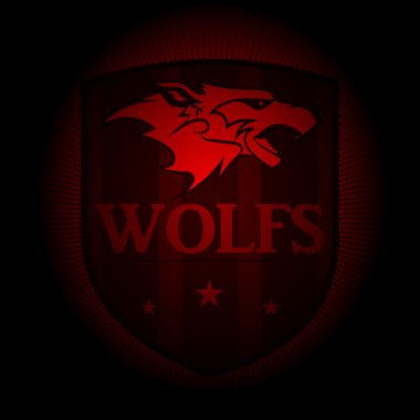 Wolf, a sports logo. the emblem appearing out of the darkness.