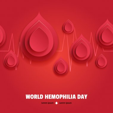 World Hemophilia Day. Paper blood drops with pulse line