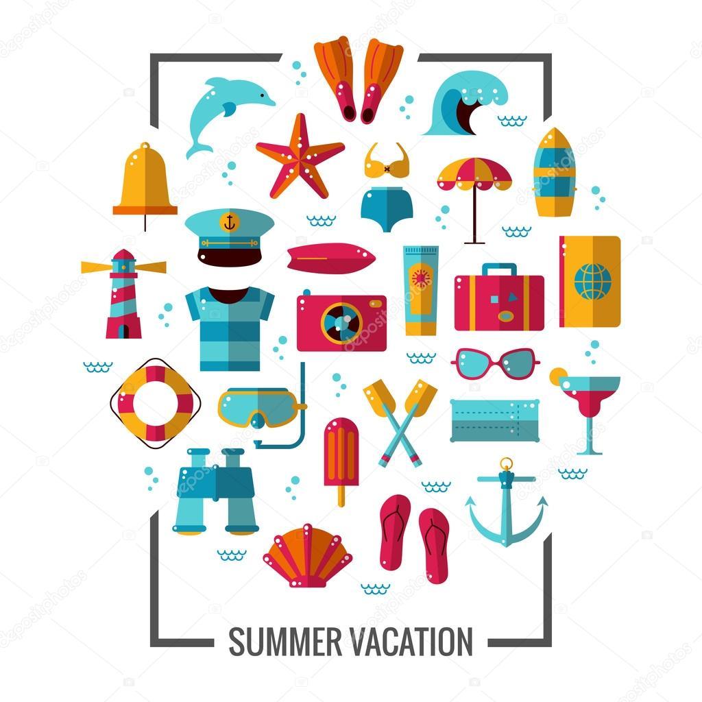 夏アイコン イラスト ポスターカラフルな海の休暇の概念チラシ