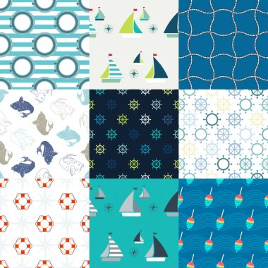 Blue set of 9 marine symbols seamless patterns