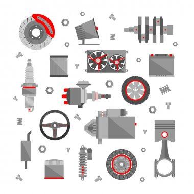 Car repair icons in flat style.