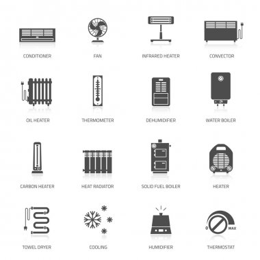 Heating, ventilation and conditioning icons set. clip art vector